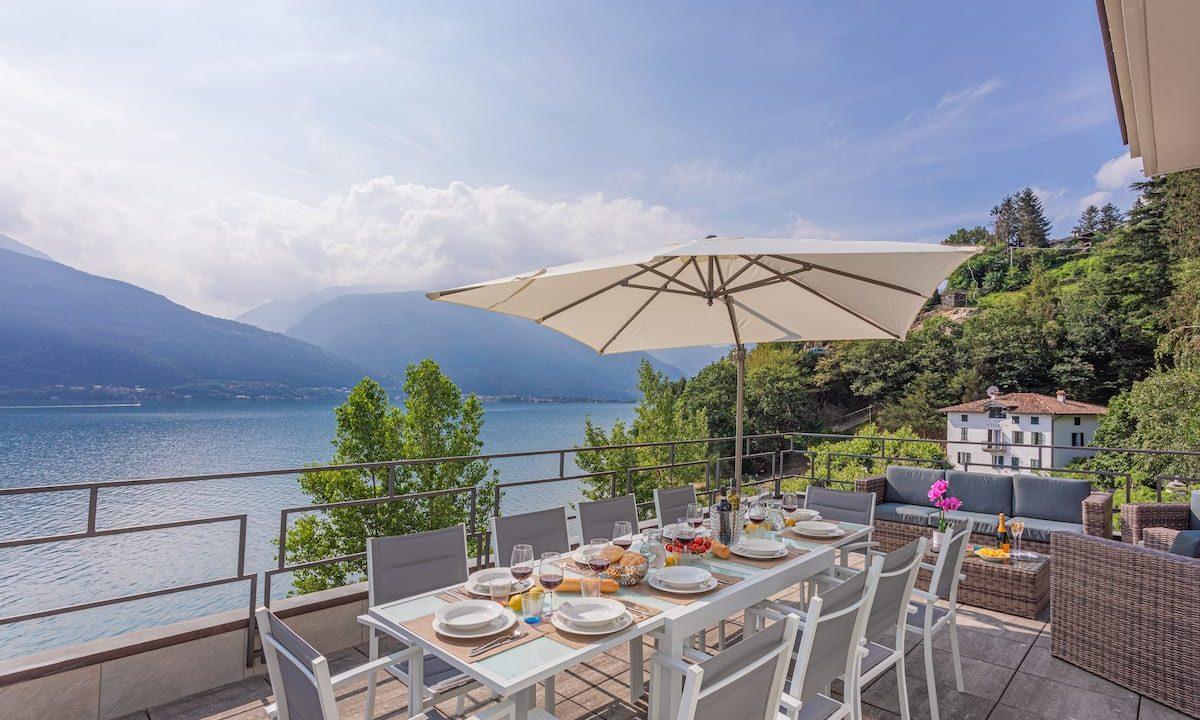Comer See Pianello del Lario Villa Direkt am See - terrasse